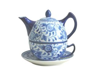 Tea-for-One theepot, porselein, wit en blauw - H 16