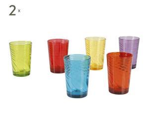 Set van 12 glazen, veelkleurig -  diameter 6 cm
