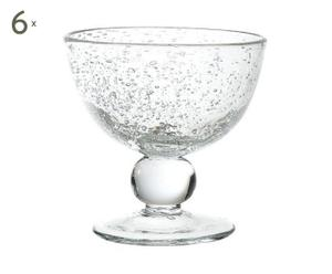 Set van 6 Coupes, bubbelglas, diameter 12 cm