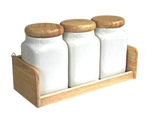Set van 3 potjes met houder, wit en naturel - L 32 cm
