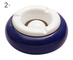 Set van 2 asbakken, porselein, blauw en wit - diameter 14 cm