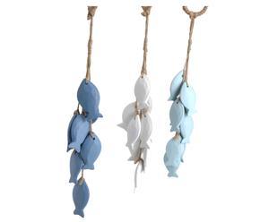Set van 3 decoratieve hangers Artus, blauw en wit, H 38 cm