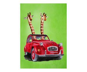 Poster Giraffes, groen/rood, A4