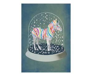 Poster Zebra sneeuwbol, multicolor, A4