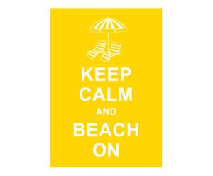 Affiche Keep Calm and beach on, geel, wit, 42 x 30 cm