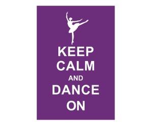 Affiche Keep Calm and dance on, paars, wit, 42 x 30 cm