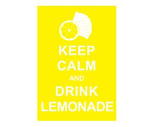 Affiche Keep Calm and drink lemonade, geel, wit, 42 x 30 cm