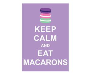 Affiche Keep Calm and eat macarons, paars, wit, 42 x 30 cm