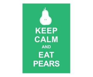 Affiche Keep Calm and eat pears, groen, wit, 42 x 30 cm
