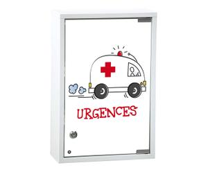 Medicijnkastje Urgences, wit en rood, 30x12 cm
