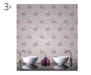 Behang Flamingo, roze/beige, 3 rollen