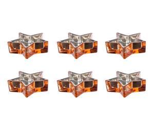 Set van 3 windlichtjes Star, roest, L 38 cm