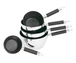 Set van 5 pannen Zuri, RVS, zwart