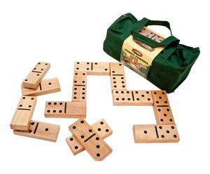 Groot Domino spel, hout, naturel, zwart, L 18 cm