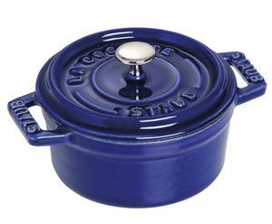 Cocotte ronde Fonte émaillée, Bleu intense  - Ø10