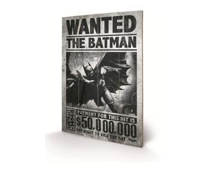 Print op hout Batman Wanted, zwart/wit, 40 x 59 cm