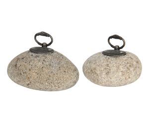 Set van 2 decoratieve stenen Stijn, grijs, L 11 cm