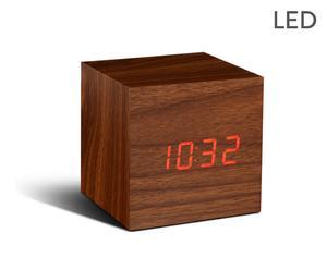 Klok met wekker Walnut, naturel/rood, L 7 cm