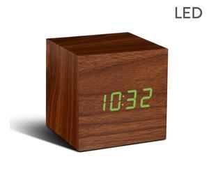 Klok met wekker Walnut, naturel/groen, L 7 cm