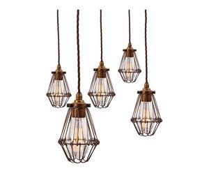 Set van 5 hanglampen Jazz, brons, diameter 10 cm