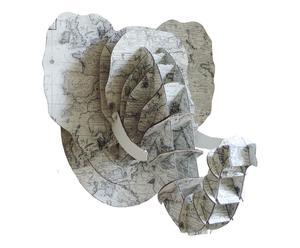 Decoratieve olifantenkop Fun, beige/grijs, H 44 cm