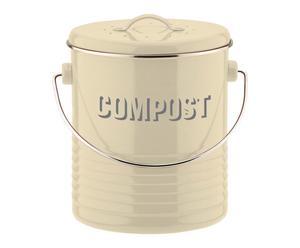 Compostbak Vintano, creme, H 21 cm