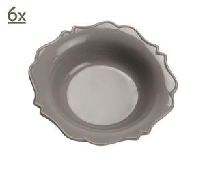 6 diepe borden, dolomiet, grijs, 21 cm