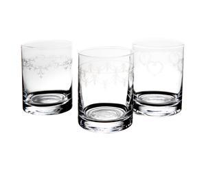 3 whiskyglazen, glas, 11 cm