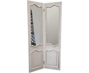 Kamerscherm met spiegel, shabby - H 180 cm