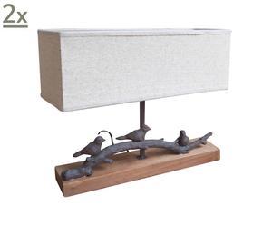 Set van 2 tafellampen van hout Basil