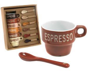 Set van 6 espressokopjes met 6 lepeltjes