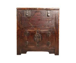 Chinese kast/kist uit 1850, hout, rood en bruin - 80 x 90 x 47 cm