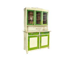 Vintage keuken/-buffetkast Lucia van hout, wit en groen - Anno 1910
