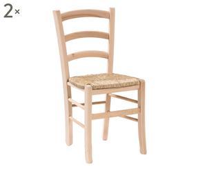 Set van 2 stoelen Lena, naturel, H 88 cm