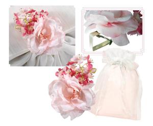 Set di 4 fermatovaglia in tessuto bouquet - 15x8 cm
