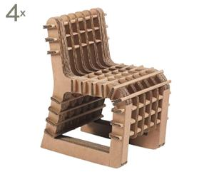 Set van 4 kinderstoelen Build up, bruin, 34 X 56 X 43 cm
