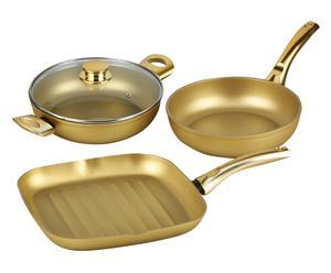 Pannen-set Stonegold, goud, 4 stuks
