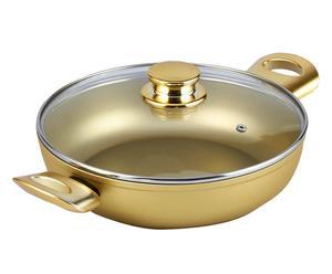 Lage braadpan met deksel Stonegold, goud, diameter 24 cm