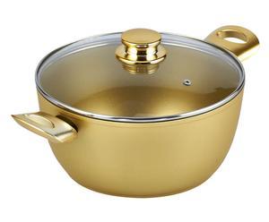Braadpan met deksel, goud, diameter 24 cm