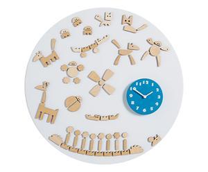 Wandklok Tic, wit/blauw, Ø 50 cm