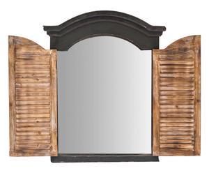 Wandspiegel met luikjes Old, zwart/naturel, H 75 cm
