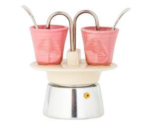 Caffettiera in alluminio e gres avorio con bicchierini rosa - 14x17 cm