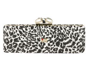 Clutch Leopard, zwart/wit/goud, 30 x 10 x 5 cm