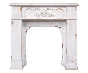 Cornice per camino in legno Sara bianco decapato - 101x97x21 cm