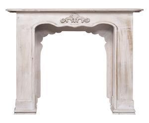 Cornice per camino in legno Roberta bianco decapato - 130x100x30 cm