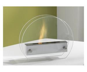 Bio-ethanol tafelhaardje Puck, zilver, 35 x 30 cm