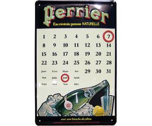 Perrier, tinnen kalender bord