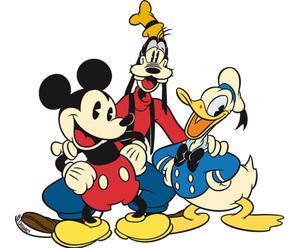 Donald, Mickey en Goofy, gestanst tinnen bord