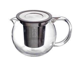 Glazen theepot, 0.5 liter met deksel, grijs