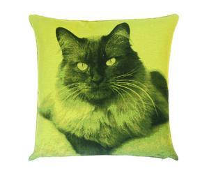 Kussen kattenkop, groen, 45 x 45 cm